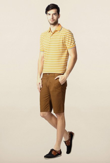 Peter England Brown Solid Shorts