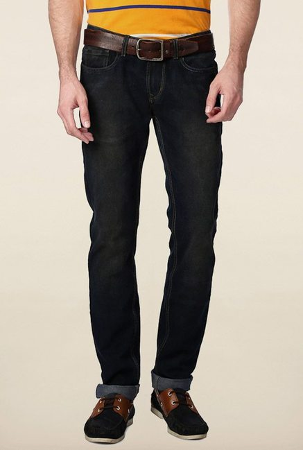 Peter England Black Lightly Washed Jeans
