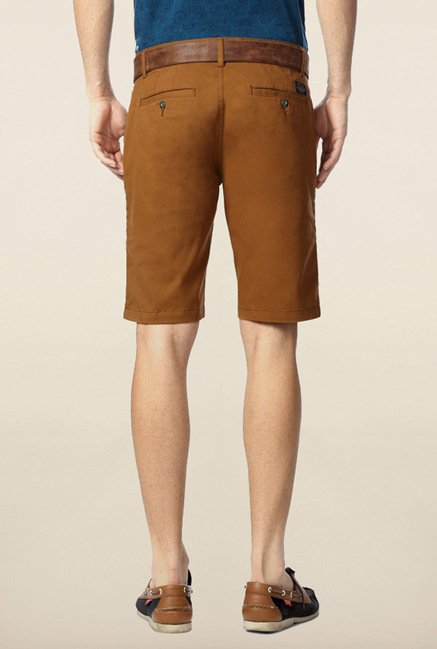 Peter England Brown Solid Cotton Shorts