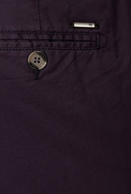 Peter England Purple Solid Casual Chinos