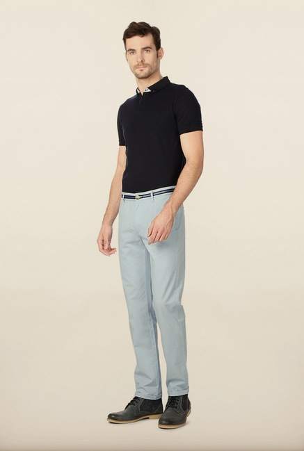 Peter England Light Blue Solid Cotton Chinos