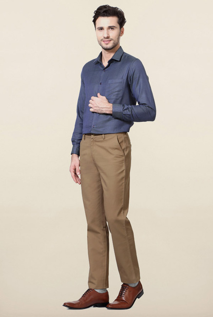 Peter England Khaki Cotton Casual Trouser