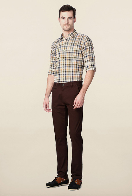Peter England Dark Brown Solid Chinos