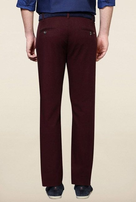 Peter England Maroon Solid Casual Chinos
