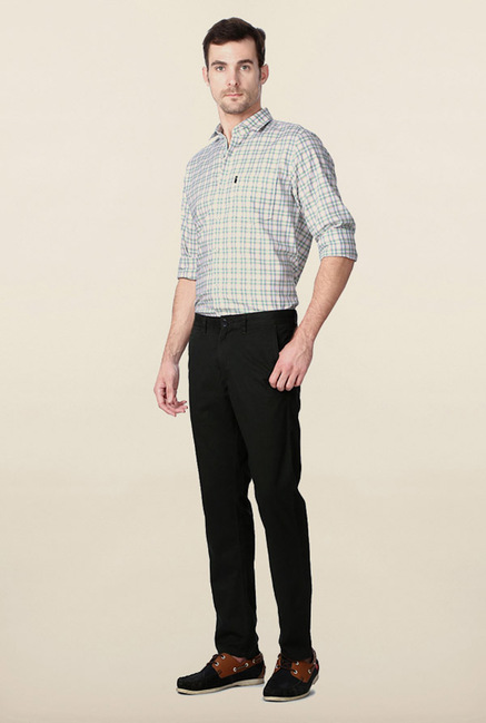 Peter England Dark Grey Solid Cotton Casual Chinos