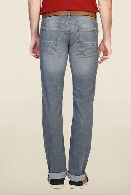 Peter England Grey Lightly Washed Jeans