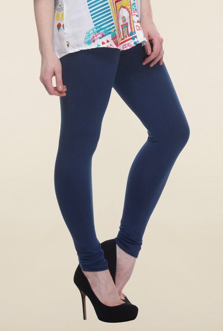 W Navy Cotton Ankle Length Tights