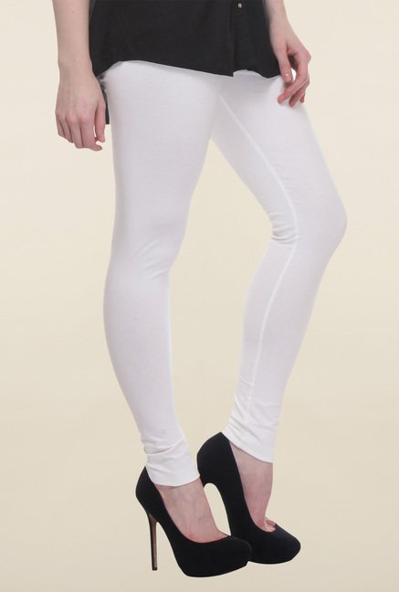 W White Cotton Ankle Length Tights