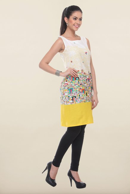 W White & Yellow Printed Kurti