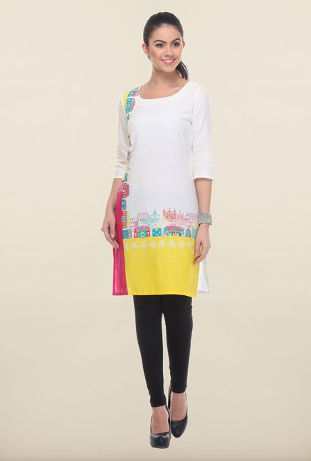 W Yellow & White Printed Kurti