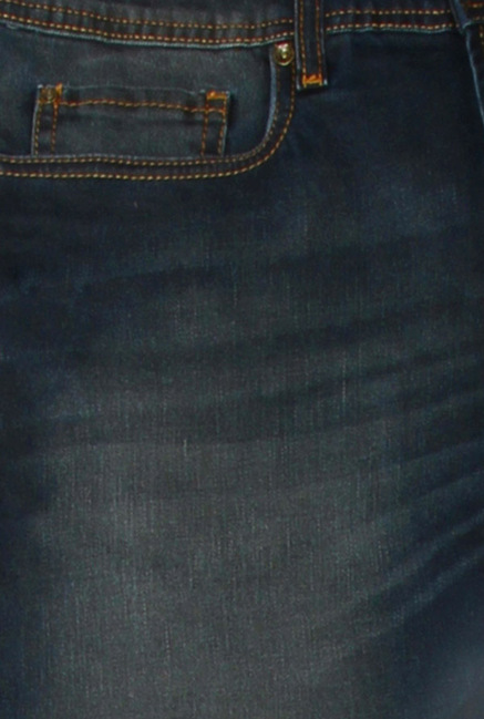 Peter England Dark Blue Solid Jeans