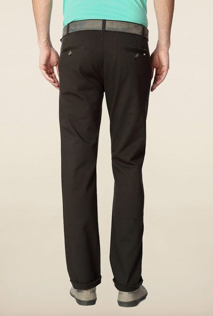 Peter England Charcoal Solid Chinos