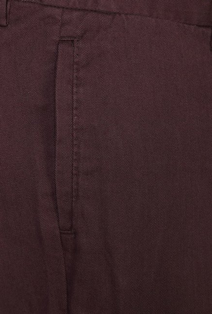 Peter England Maroon Cotton Casual Chinos