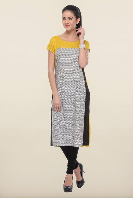 W Grey & Yellow Printed Kurta