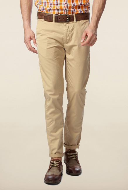 Peter England Khaki Slim Fit Chinos