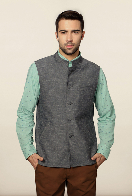 Peter England Grey Nehru Jacket
