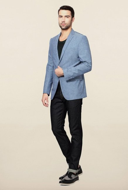 Peter England Blue Slim Fit Blazer