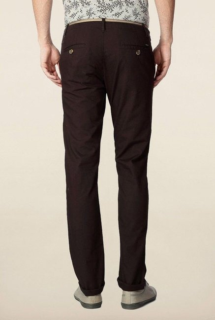 Peter England Brown Solid Chinos