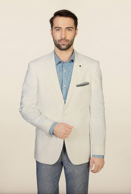 Allen Solly White Solid Blazer