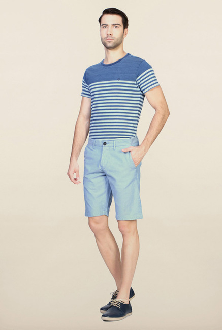 Allen Solly Blue Solid Cotton Shorts