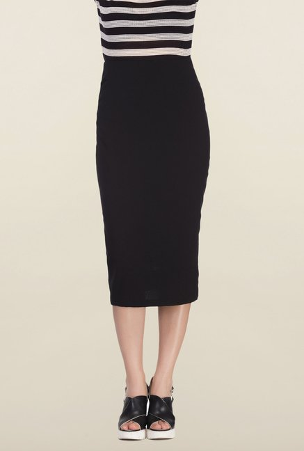 Femella Black Solid Formal Skirt