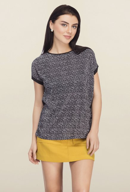 Femella Black Printed Top