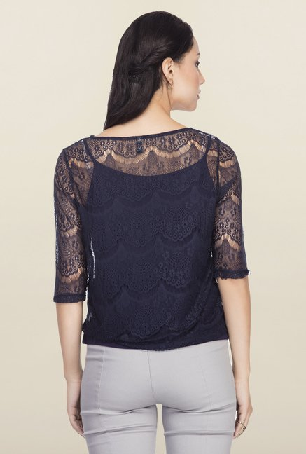 Femella Navy Lace Top