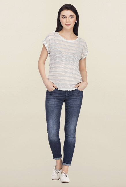 Femella Grey Striped Top
