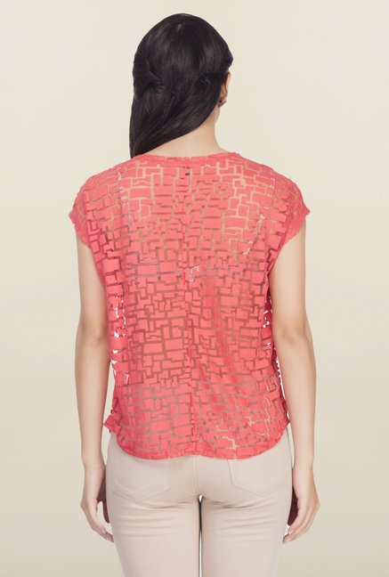 Femella Orange Printed Top
