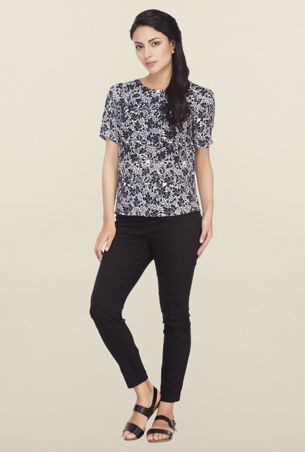 Femella Navy Printed Top