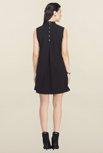 Femella Black Back Button High Neck Dress