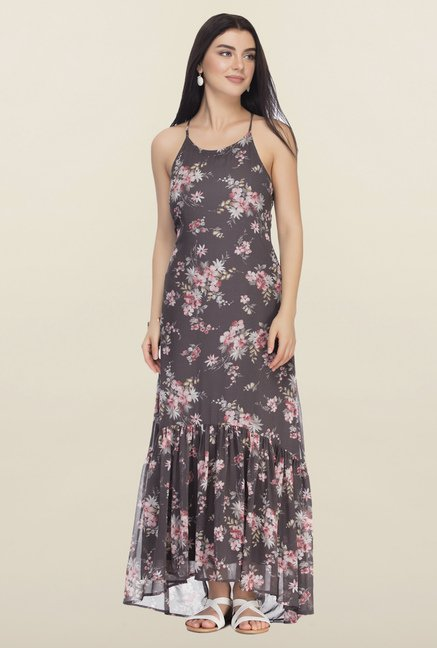 Femella Grey Printed Floral Maxi Dress