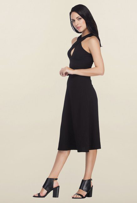 Femella Black Front Crossover Midi Dress