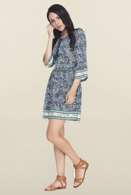 Femella Green Border Printed Dress