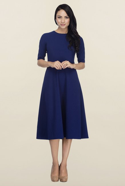 Femella Blue Fit & Flare Midi Dress