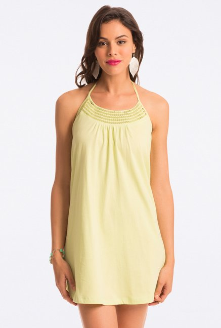 PrettySecrets Lime Solid Halter Dress