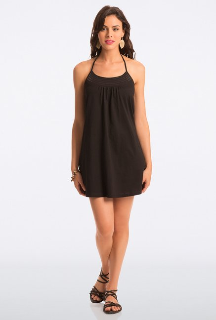 PrettySecrets Black Solid Halter Dress
