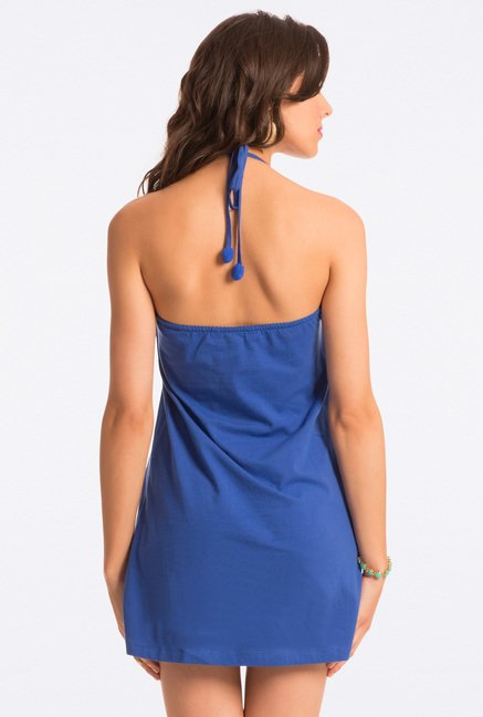 PrettySecrets Cobalt Solid Halter Dress