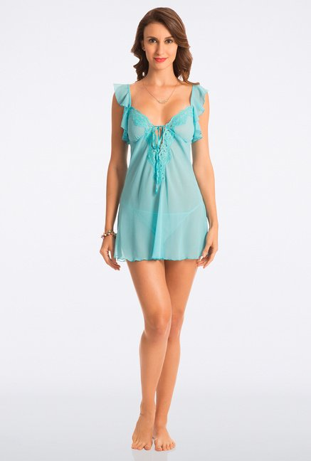 Pretty Secrets Fresh Aqua Lace Babydoll