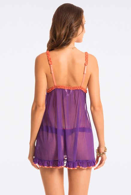 Pretty Secrets Purple & Orange Lace Babydoll
