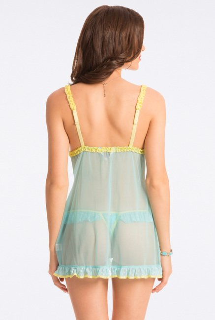 Pretty Secrets Aqua & Lime Lace Babydoll