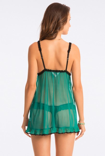 Pretty Secrets Green & Black Lace Babydoll