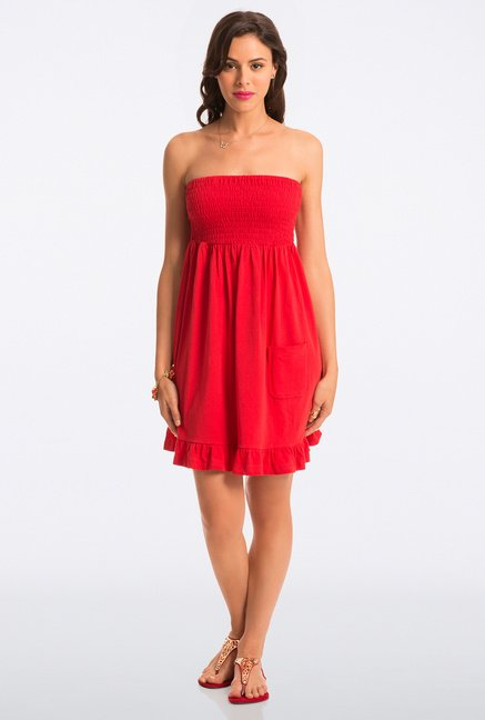 PrettySecrets Red Solid Strapless Dress