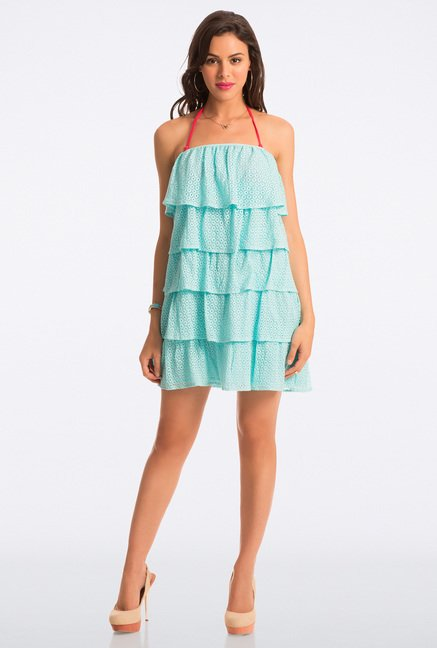 PrettySecrets Aqua Lace Strapless Flounce Dress