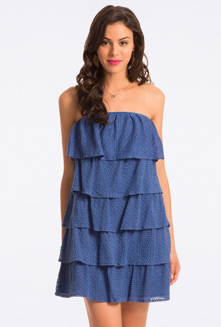 PrettySecrets Cobalt Lace Cotton Strapless Flounce Dress