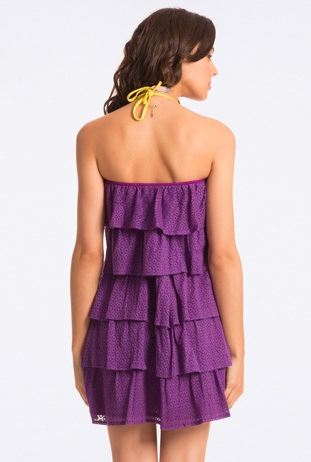 PrettySecrets Purple Lace Strapless Flounce Dress