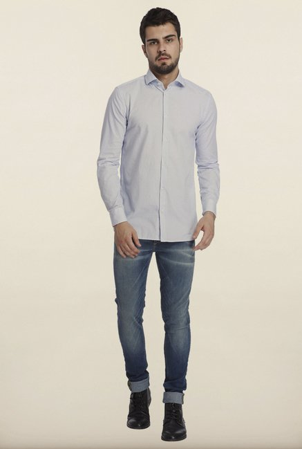 Jack & Jones Light Blue Self Print Casual Shirt