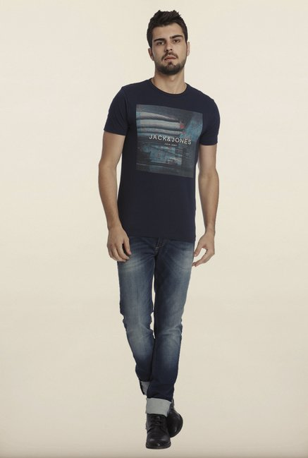 Jack & Jones Navy Graphic Print Crew T-Shirt