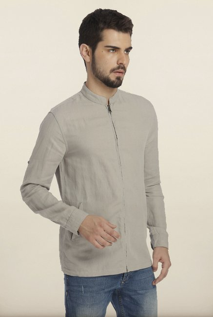 Jack & Jones Light Grey Solid Linen Shirt