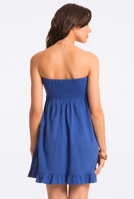 PrettySecrets Cobalt Solid Strapless Dress